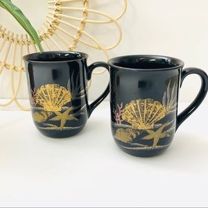 Vintage | Otagiri Japan Ocean Theme Black Mugs